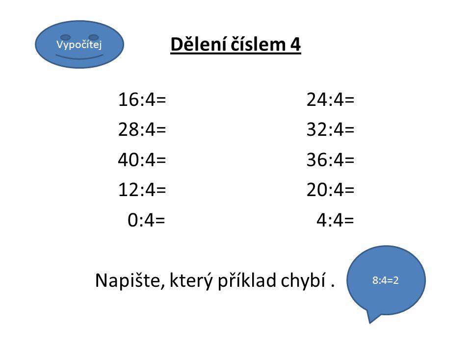 Dělení číslem 4 16:4=24:4= 28:4=32:4= 40:4=36:4= 12:4=20:4= 0:4= 4:4= Napište, který příklad chybí.