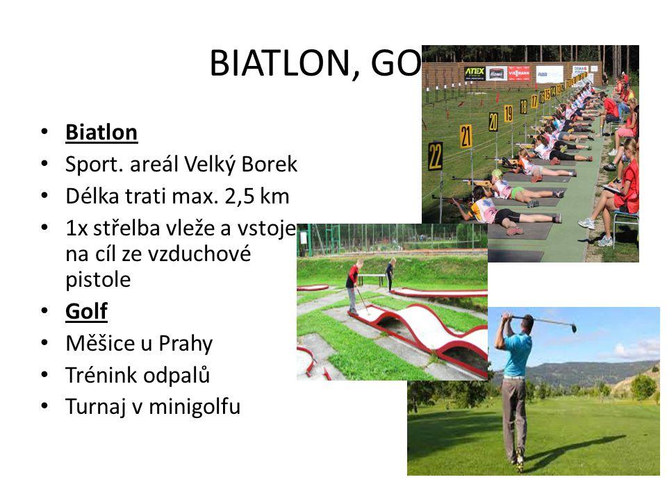 BIATLON, GOLF Biatlon Sport. areál Velký Borek Délka trati max. 2,5 km 1x střelba vleže a vstoje na cíl ze vzduchové pistole Golf Měšice u Prahy Tréni