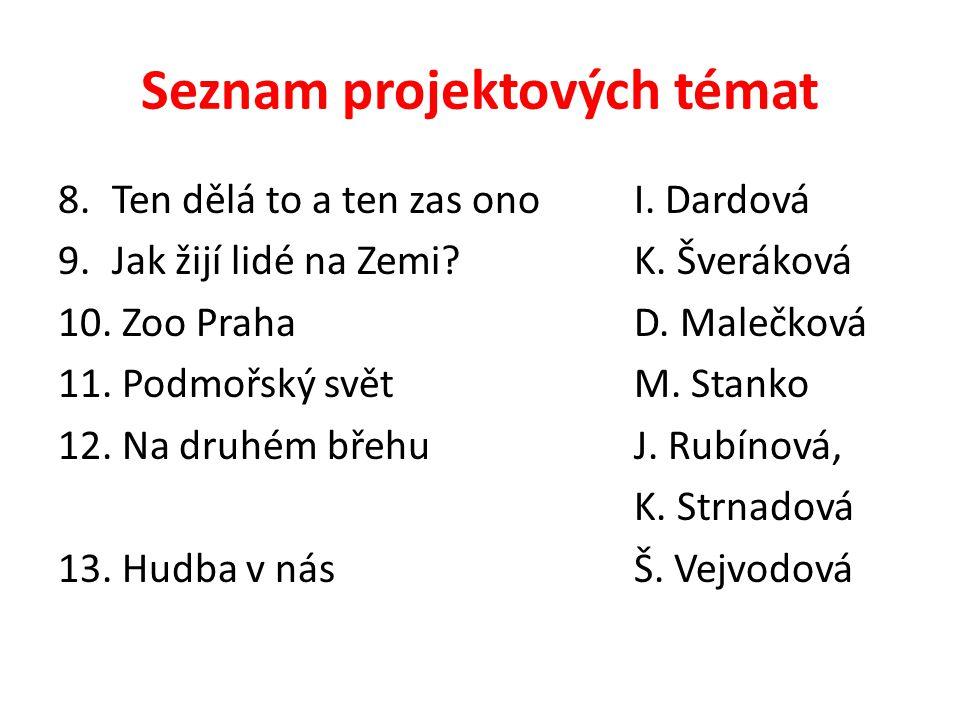 Seznam projektových témat 14.TankyJ. Sisák 15.PříšerkyM.