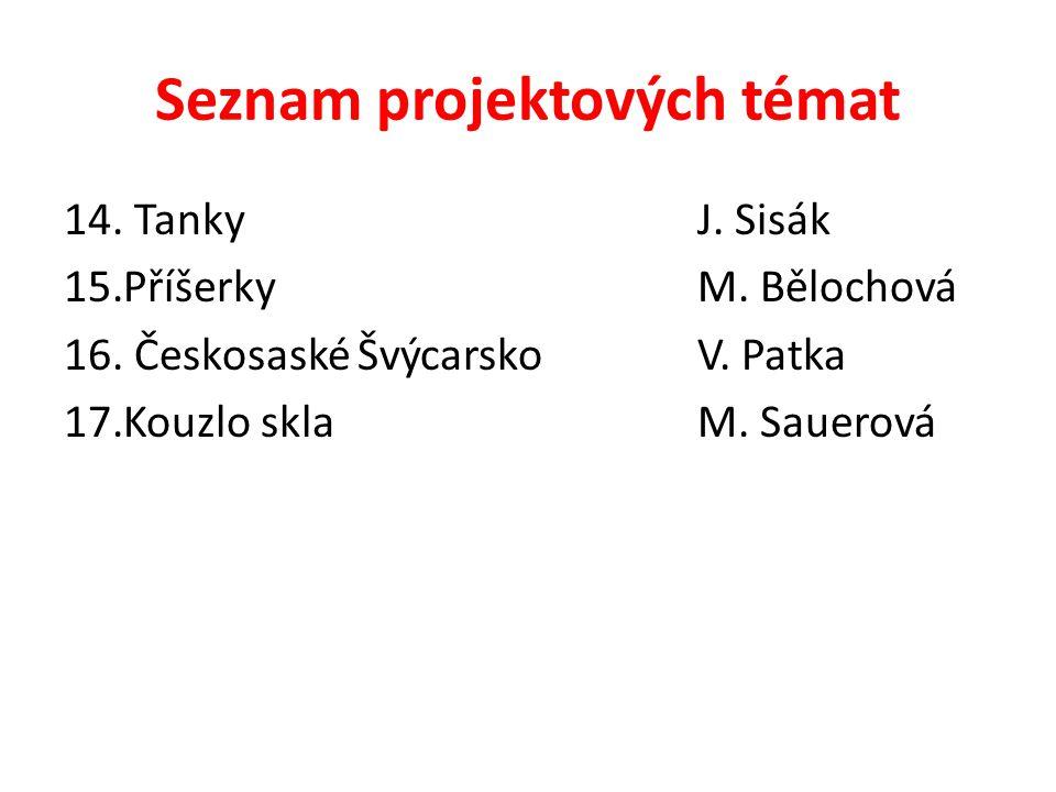 Seznam projektových témat 14. TankyJ. Sisák 15.PříšerkyM. Bělochová 16. Českosaské ŠvýcarskoV. Patka 17.Kouzlo sklaM. Sauerová