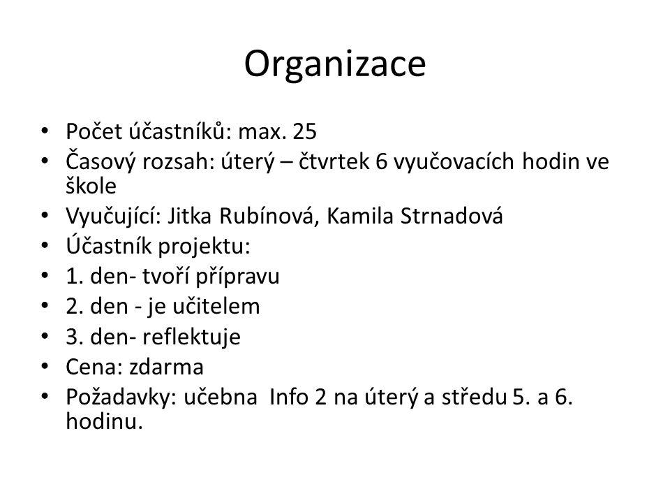 Počet účastníků: max. 25 Časový rozsah: úterý – čtvrtek 6 vyučovacích hodin ve škole Vyučující: Jitka Rubínová, Kamila Strnadová Účastník projektu: 1.