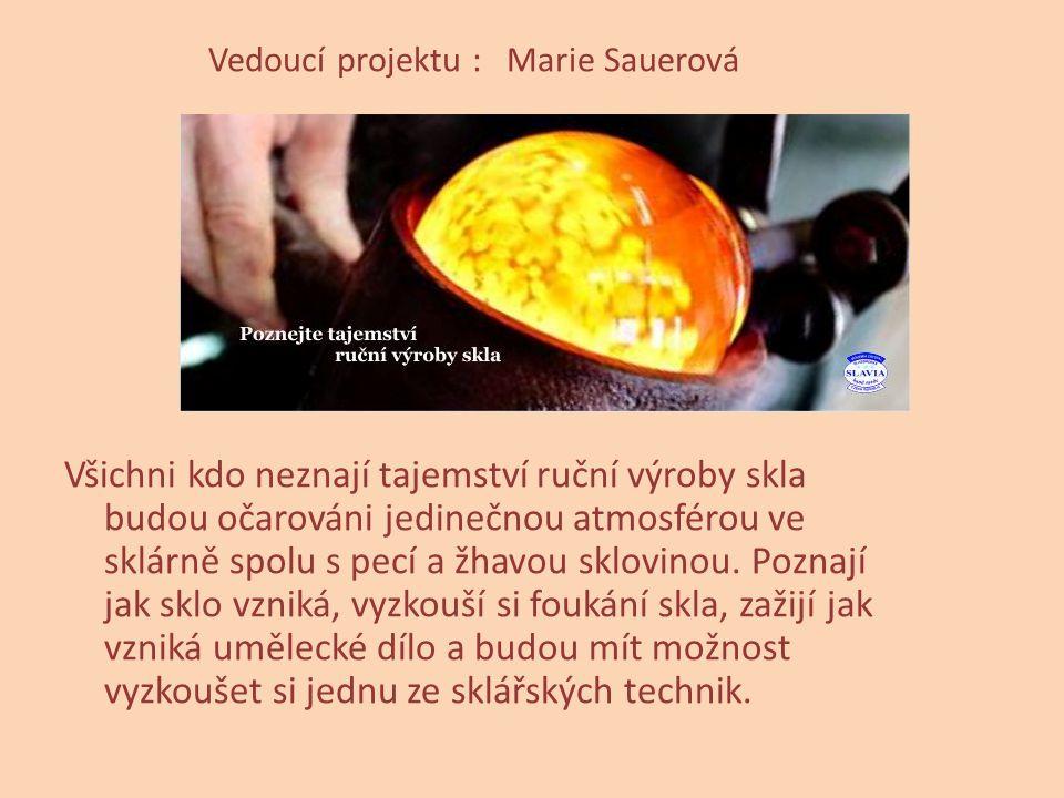 Vedoucí projektu : Marie Sauerová Všichni kdo neznají tajemství ruční výroby skla budou očarováni jedinečnou atmosférou ve sklárně spolu s pecí a žhav