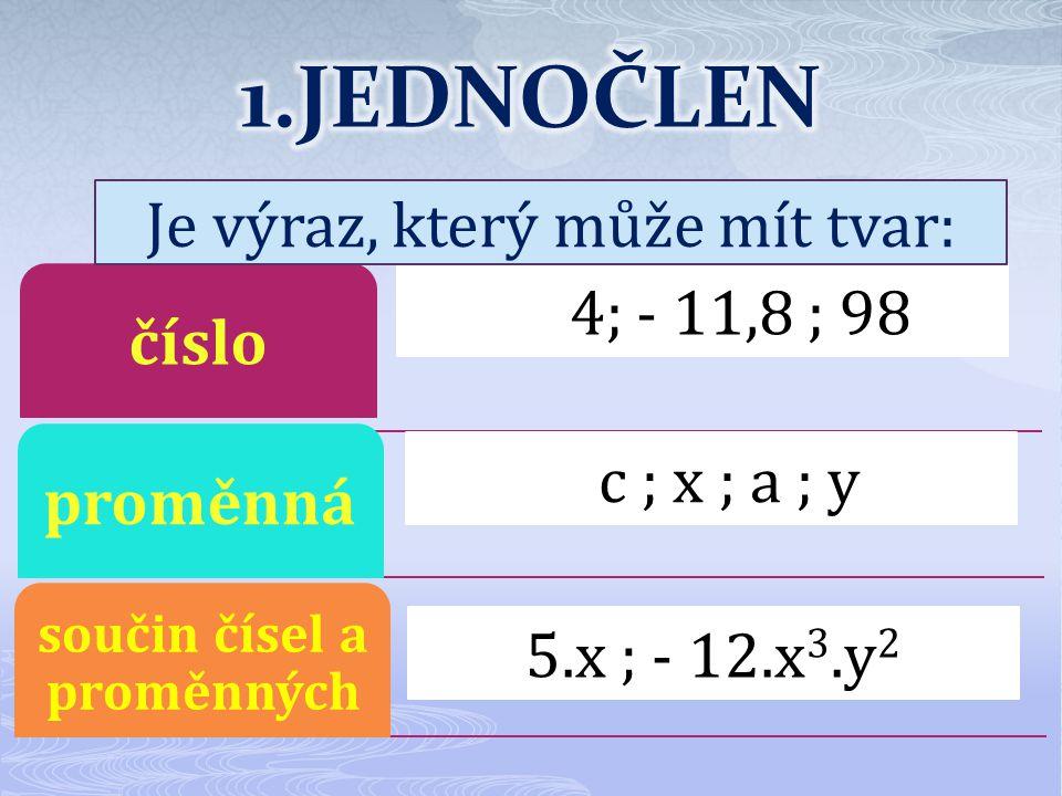 čísloproměnná součin čísel a proměnných K54; - 11,8 ; 98 Cc ; x ; a ; y 5.x ; - 12.x 3.y 2 Je výraz, který může mít tvar: