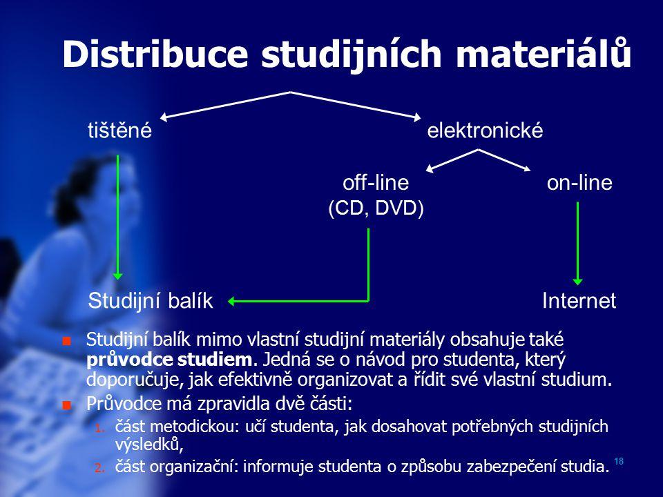 18 Distribuce studijních materiálů Studijní balík mimo vlastní studijní materiály obsahuje také průvodce studiem.