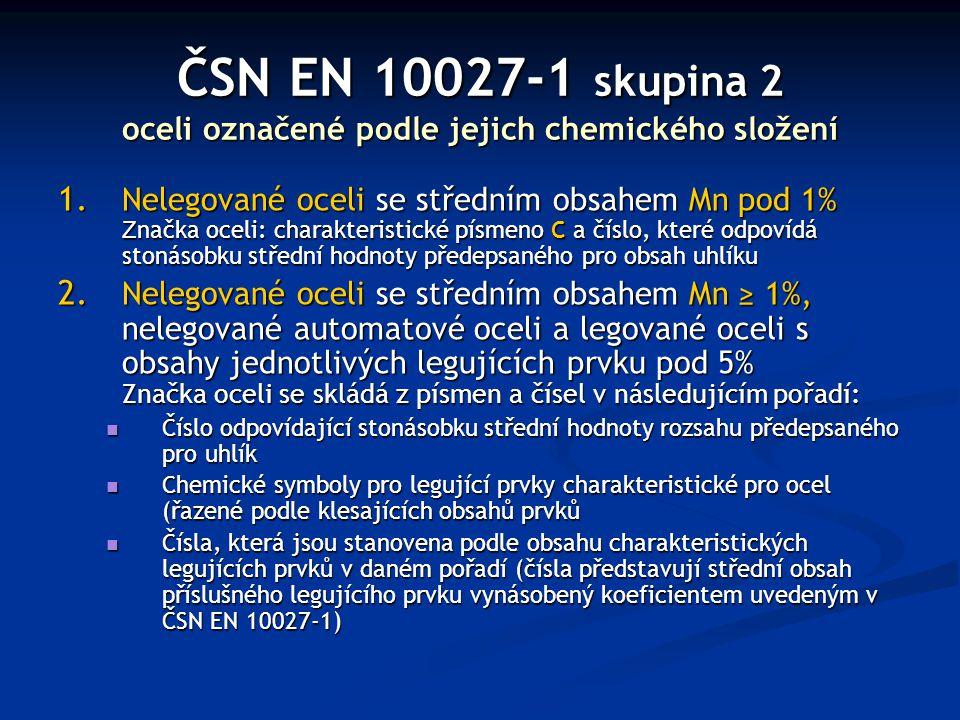 ČSN EN 10027-1 skupina 2 oceli označené podle jejich chemického složení 1. Nelegované oceli se středním obsahem Mn pod 1% Z načka oceli: charakteristi