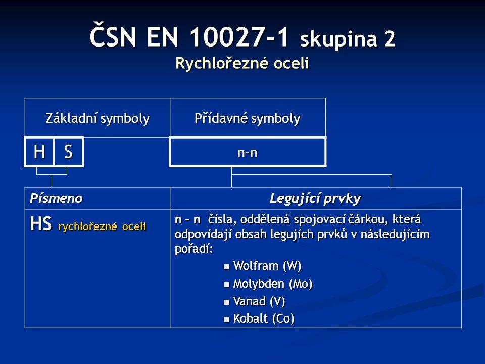 ČSN EN 10027-1 skupina 2 Rychlořezné oceli Základní symboly Přídavné symboly HS n-n Písmeno Legující prvky HS rychlořezné oceli n – n čísla, oddělená