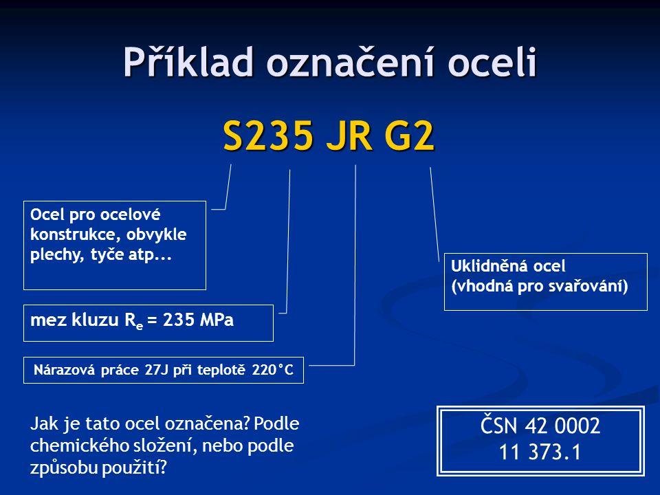 Příklad označení oceli S235 JR G2 Ocel pro ocelové konstrukce, obvykle plechy, tyče atp... mez kluzu R e = 235 MPa Nárazová práce 27J při teplotě 220°