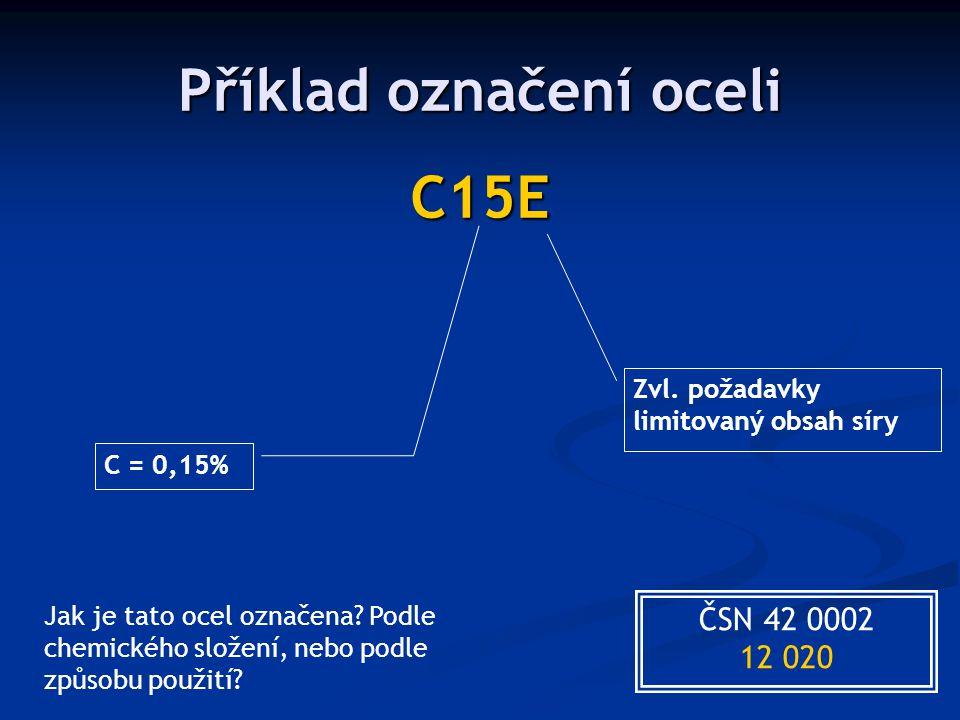 Příklad označení oceli C15E C = 0,15% Zvl. požadavky limitovaný obsah síry ČSN 42 0002 12 020 Jak je tato ocel označena? Podle chemického složení, neb