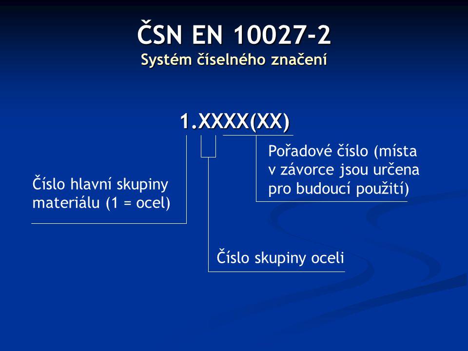 ČSN EN 10027-2 Systém číselného značení 1.XXXX(XX) Číslo hlavní skupiny materiálu (1 = ocel) Číslo skupiny oceli Pořadové číslo (místa v závorce jsou