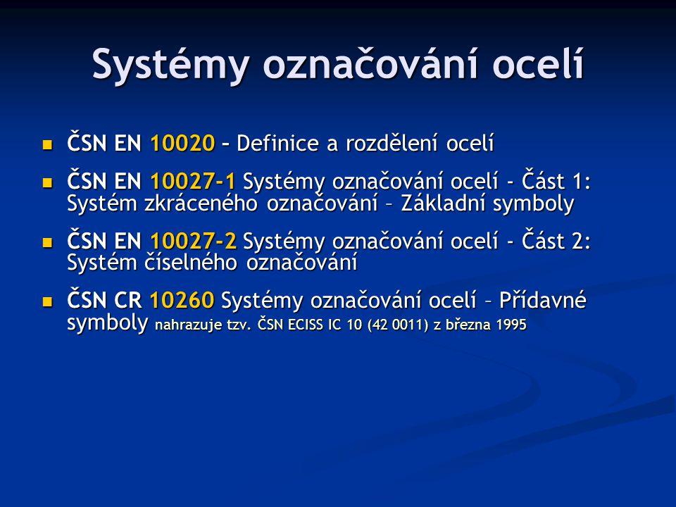 Systémy označování ocelí ČSN EN 10020 – Definice a rozdělení ocelí ČSN EN 10020 – Definice a rozdělení ocelí ČSN EN 10027-1 Systémy označování ocelí -