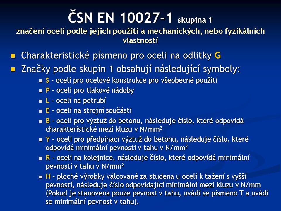 ČSN EN 10027-1 skupina 1 značení ocelí podle jejich použití a mechanických, nebo fyzikálních vlastností Charakteristické písmeno pro oceli na odlitky