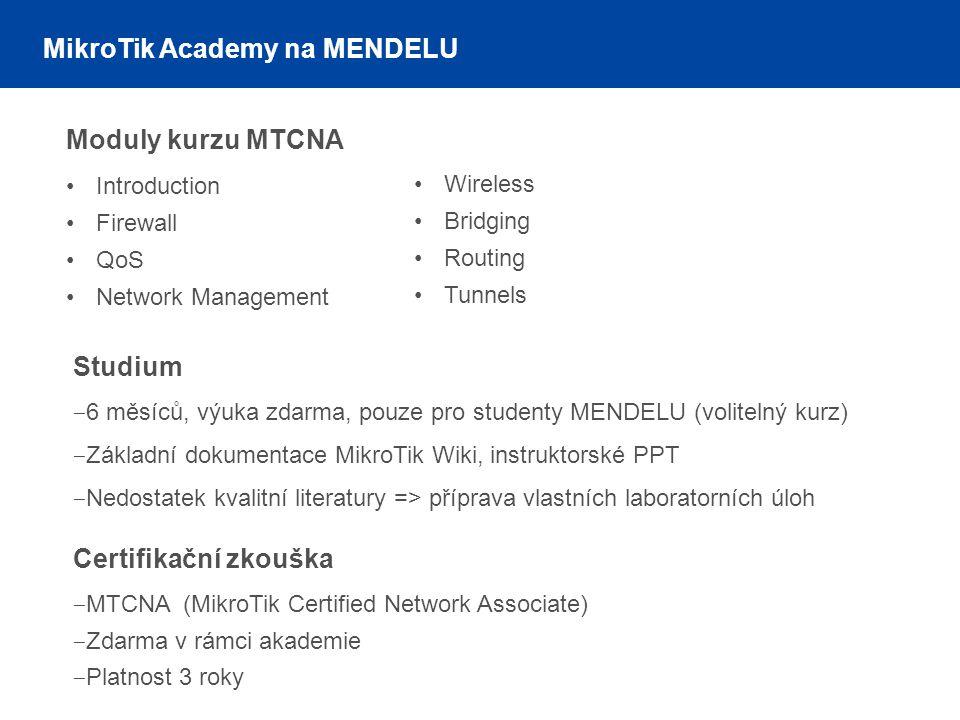 Moduly kurzu MTCNA Introduction Firewall QoS Network Management Wireless Bridging Routing Tunnels Studium ‒ 6 měsíců, výuka zdarma, pouze pro studenty