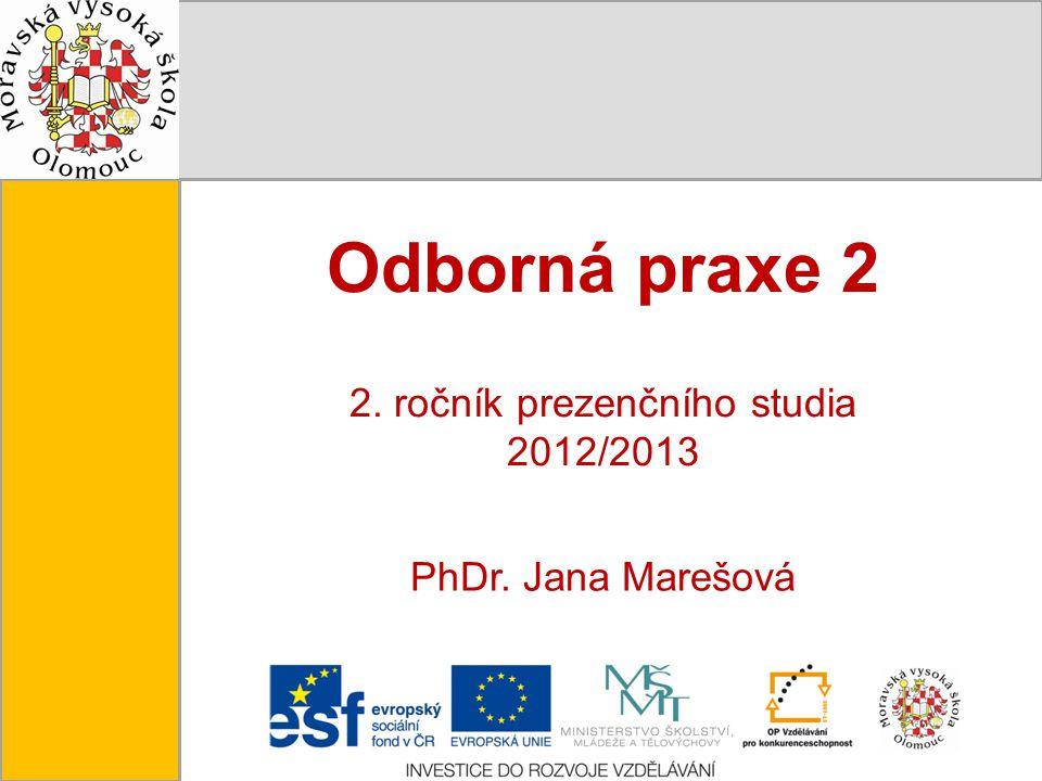 Tento projekt je spolufinancován Evropským sociálním fondem a státním rozpočtem České republiky. Odborná praxe 2 2. ročník prezenčního studia 2012/201