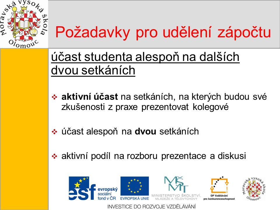 Tento projekt je spolufinancován Evropským sociálním fondem a státním rozpočtem České republiky. Požadavky pro udělení zápočtu účast studenta alespoň