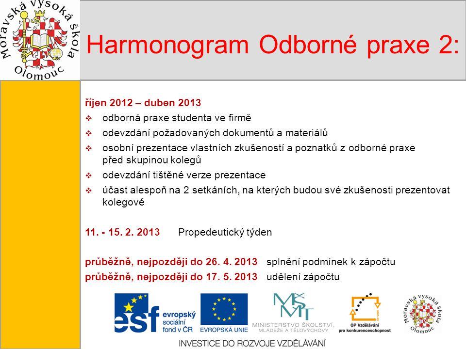 Tento projekt je spolufinancován Evropským sociálním fondem a státním rozpočtem České republiky. Harmonogram Odborné praxe 2: říjen 2012 – duben 2013