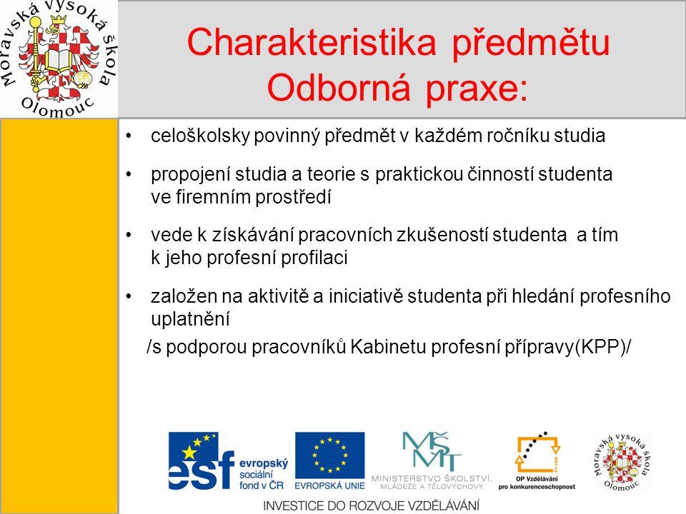 Tento projekt je spolufinancován Evropským sociálním fondem a státním rozpočtem České republiky. Charakteristika předmětu Odborná praxe: celoškolsky p