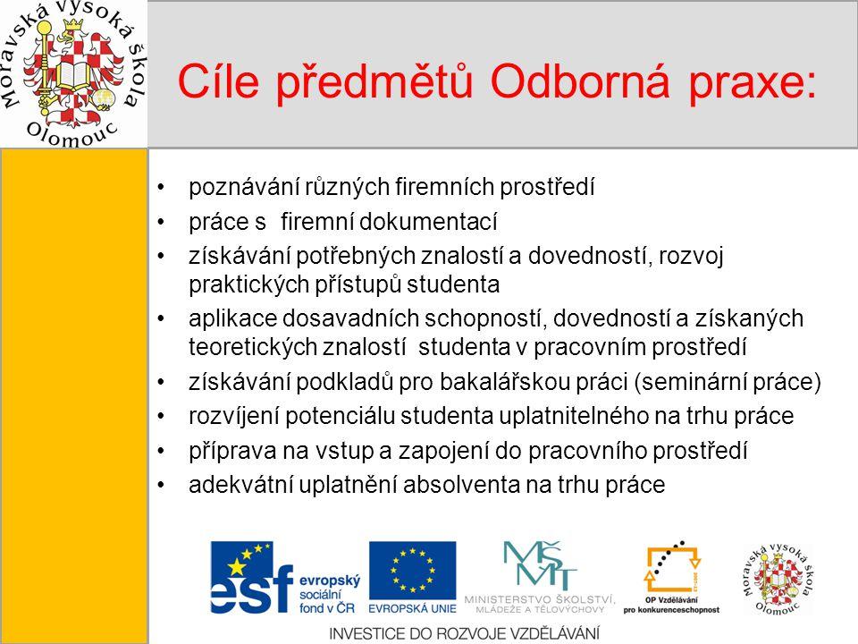 Tento projekt je spolufinancován Evropským sociálním fondem a státním rozpočtem České republiky. Cíle předmětů Odborná praxe: poznávání různých firemn