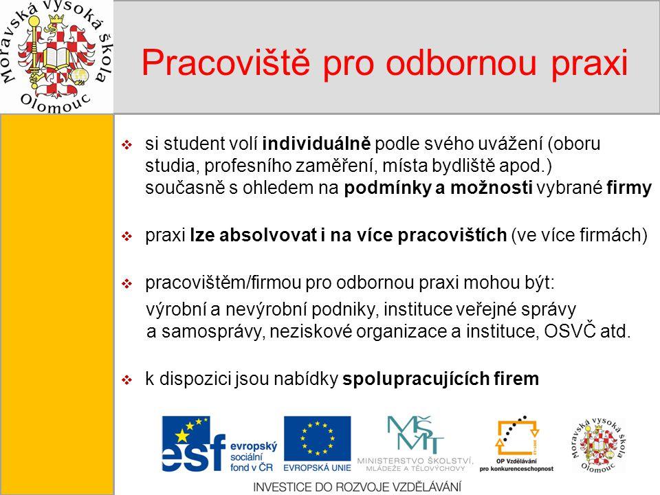 Tento projekt je spolufinancován Evropským sociálním fondem a státním rozpočtem České republiky. Pracoviště pro odbornou praxi  si student volí indiv