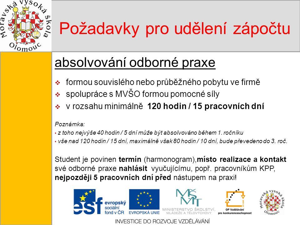 Tento projekt je spolufinancován Evropským sociálním fondem a státním rozpočtem České republiky. Požadavky pro udělení zápočtu absolvování odborné pra