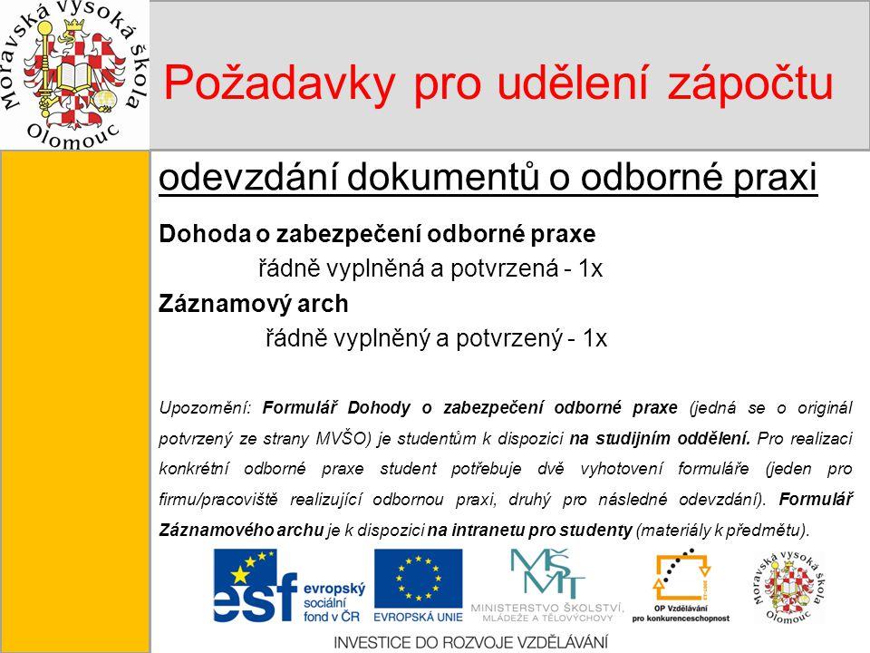 Tento projekt je spolufinancován Evropským sociálním fondem a státním rozpočtem České republiky. Požadavky pro udělení zápočtu odevzdání dokumentů o o
