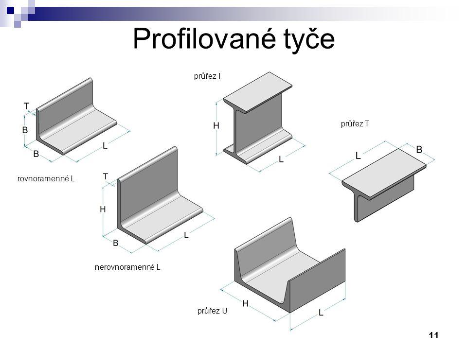11 Profilované tyče rovnoramenné L nerovnoramenné L průřez I průřez T průřez U