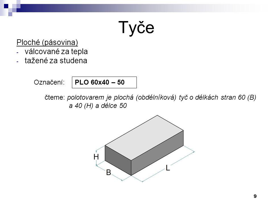 9 Tyče Označení: PLO 60x40 – 50 čteme: polotovarem je plochá (obdélníková) tyč o délkách stran 60 (B) a 40 (H) a délce 50 Ploché (pásovina) - válcovan