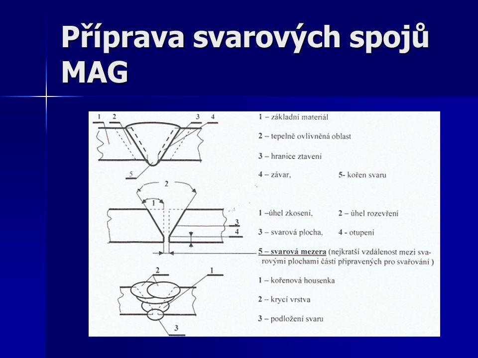 Příprava svarových spojů MAG