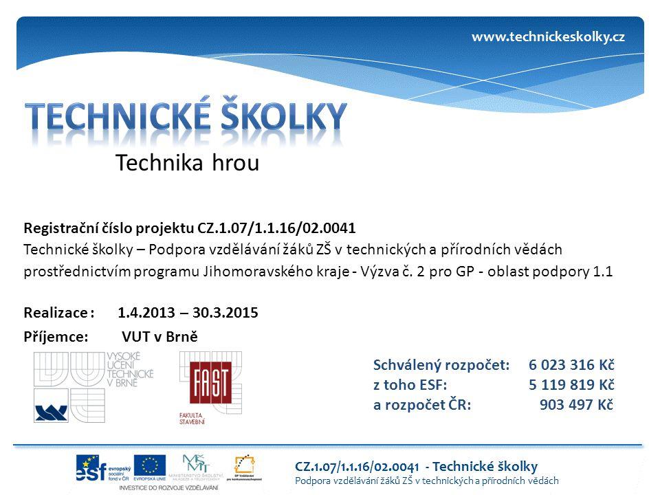 Technika hrou Registrační číslo projektu CZ.1.07/1.1.16/02.0041 Technické školky – Podpora vzdělávání žáků ZŠ v technických a přírodních vědách prostř