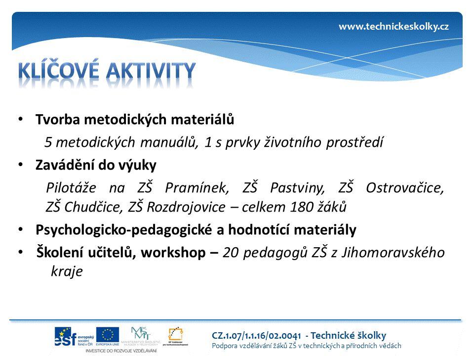 Tvorba metodických materiálů 5 metodických manuálů, 1 s prvky životního prostředí Zavádění do výuky Pilotáže na ZŠ Pramínek, ZŠ Pastviny, ZŠ Ostrovači