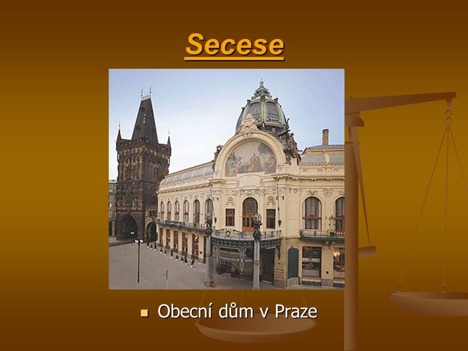 Secesní sloh těžiště secese neleží ve vysokém umění, v malbě a sochařství, ale v dekoraci a užitém umění tento umělecký styl se objevil v Evropě a ve