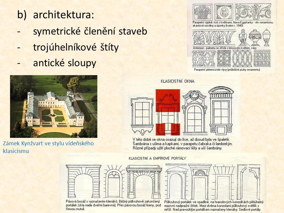 b)architektura: -symetrické členění staveb -trojúhelníkové štíty -antické sloupy Zámek Kynžvart ve stylu vídeňského klasicismu
