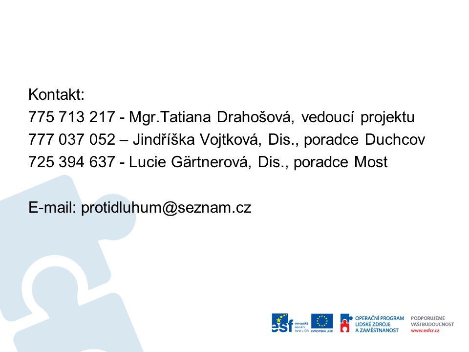 Kontakt: 775 713 217 - Mgr.Tatiana Drahošová, vedoucí projektu 777 037 052 – Jindříška Vojtková, Dis., poradce Duchcov 725 394 637 - Lucie Gärtnerová,