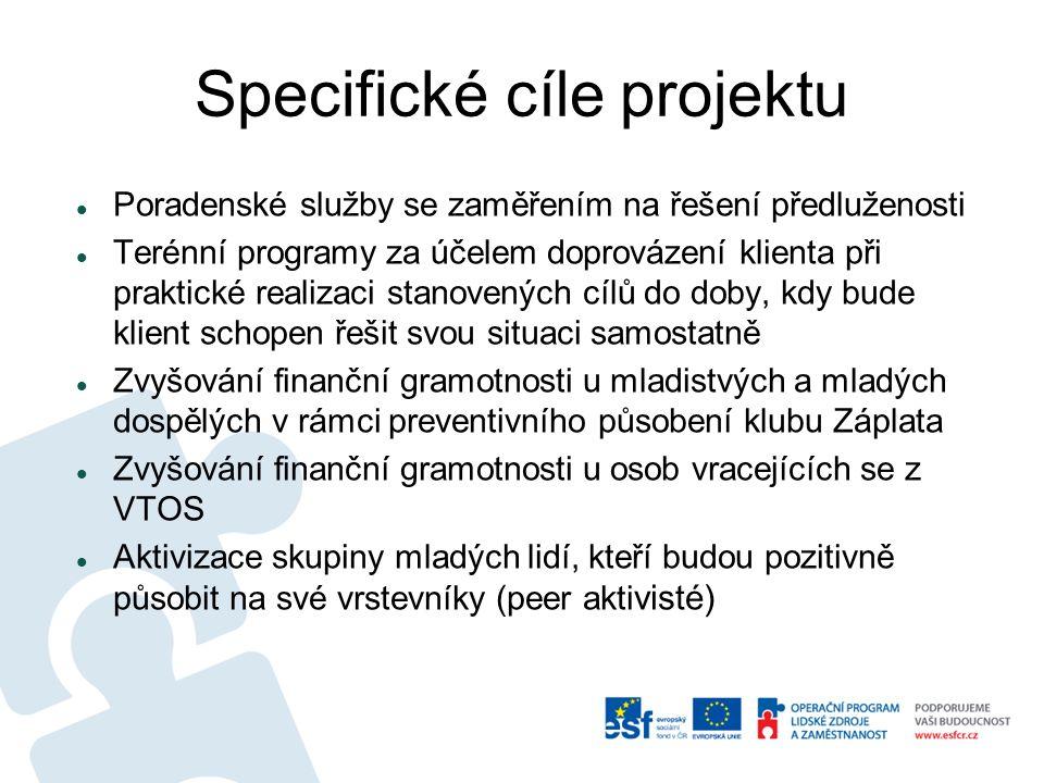 Specifické cíle projektu Poradenské služby se zaměřením na řešení předluženosti Terénní programy za účelem doprovázení klienta při praktické realizaci