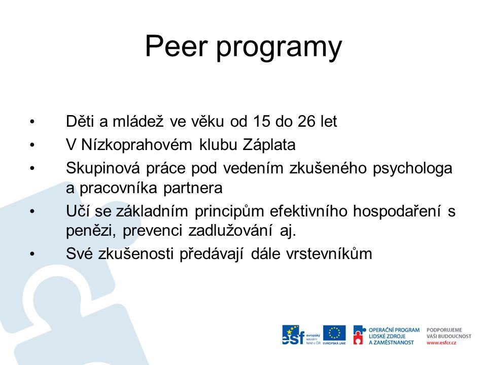 Peer programy Děti a mládež ve věku od 15 do 26 let V Nízkoprahovém klubu Záplata Skupinová práce pod vedením zkušeného psychologa a pracovníka partne