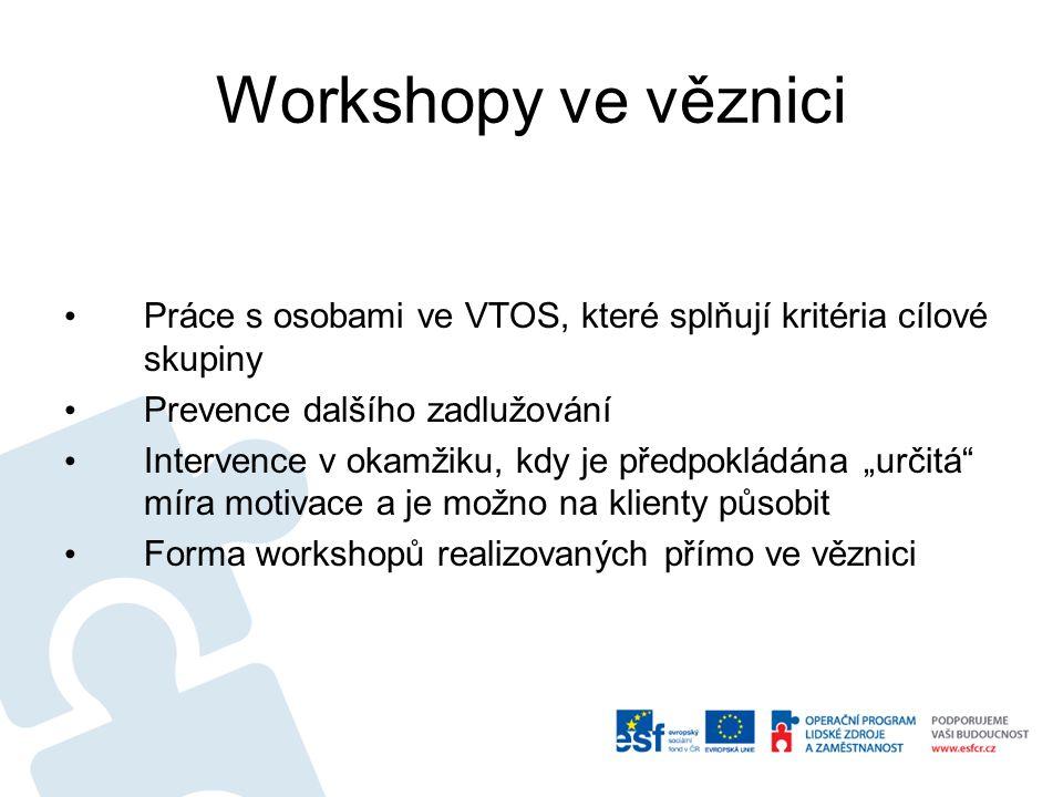 Workshopy ve věznici Práce s osobami ve VTOS, které splňují kritéria cílové skupiny Prevence dalšího zadlužování Intervence v okamžiku, kdy je předpok
