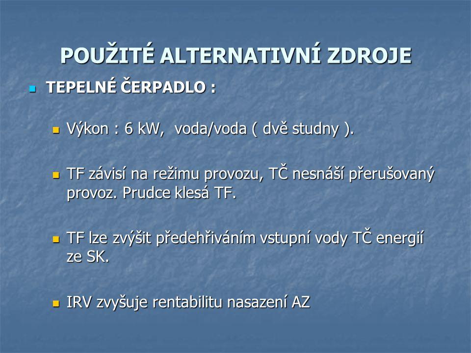POUŽITÉ ALTERNATIVNÍ ZDROJE TEPELNÉ ČERPADLO : TEPELNÉ ČERPADLO : Výkon : 6 kW, voda/voda ( dvě studny ).