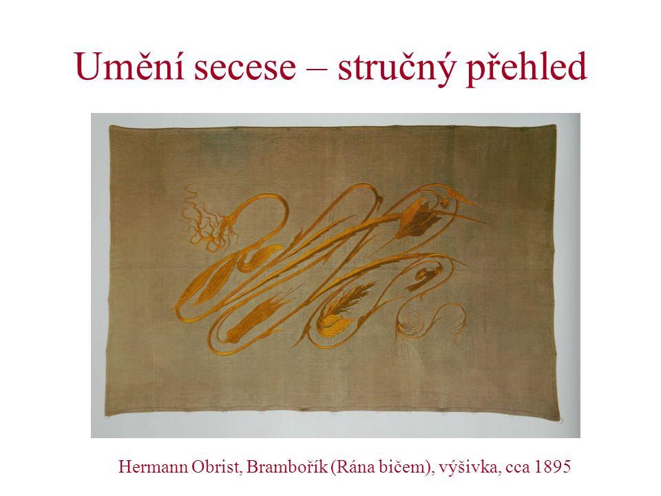 Periodizace secesního umění (1) 1)Počáteční fáze, 1893-1895: první zralá díla nového stylu v Londýně, Bruselu a Paříži; jednotlivé znaky secese konstituovány již dříve v 80.