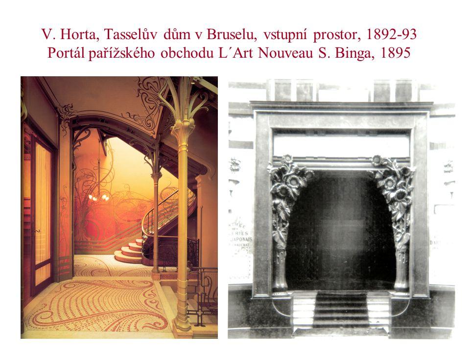 V. Horta, Tasselův dům v Bruselu, vstupní prostor, 1892-93 Portál pařížského obchodu L´Art Nouveau S. Binga, 1895