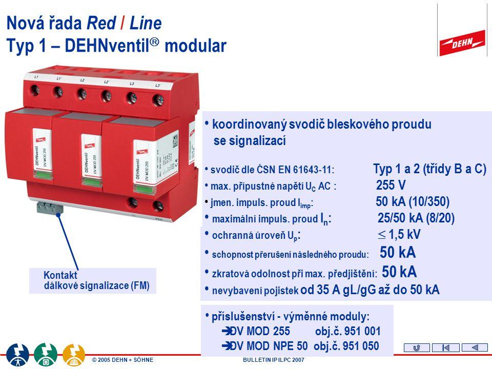 © 2005 DEHN + SÖHNEBULLETIN IP ILPC 2007 Nová řada Red / Line Typ 1 – DEHNventil  modular Kontakt dálkové signalizace (FM) koordinovaný svodič blesko