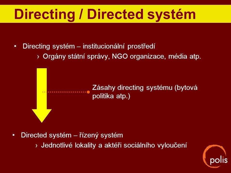 Directing / Directed systém Directing systém – institucionální prostředí ›Orgány státní správy, NGO organizace, média atp. Directed systém – řízený sy