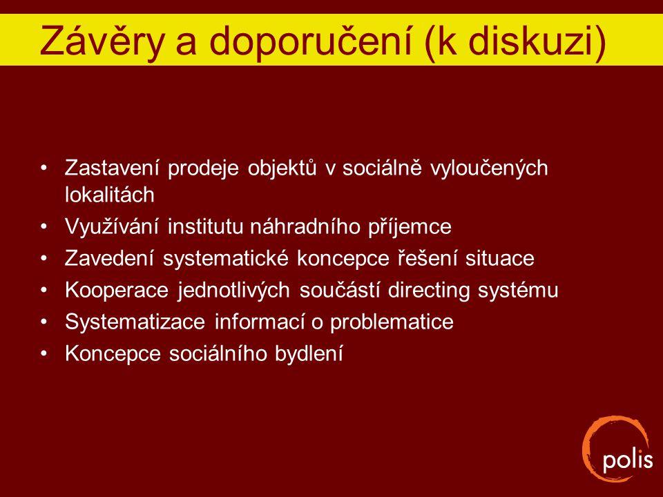 Závěry a doporučení (k diskuzi) Zastavení prodeje objektů v sociálně vyloučených lokalitách Využívání institutu náhradního příjemce Zavedení systemati