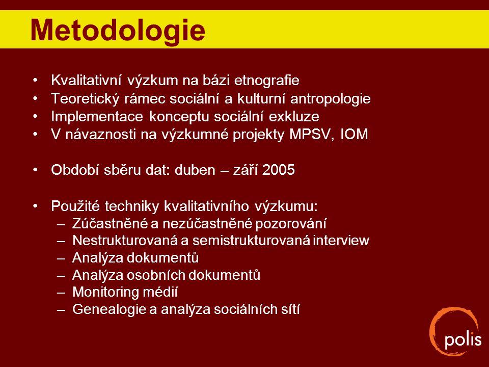 Metodologie Kvalitativní výzkum na bázi etnografie Teoretický rámec sociální a kulturní antropologie Implementace konceptu sociální exkluze V návaznos