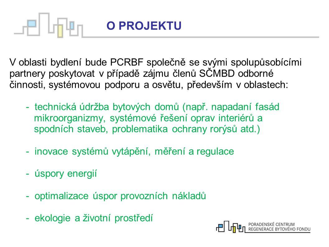  V oblasti bydlení bude PCRBF společně se svými spolupůsobícími partnery poskytovat v případě zájmu členů SČMBD odborné činnosti, systémovou podporu
