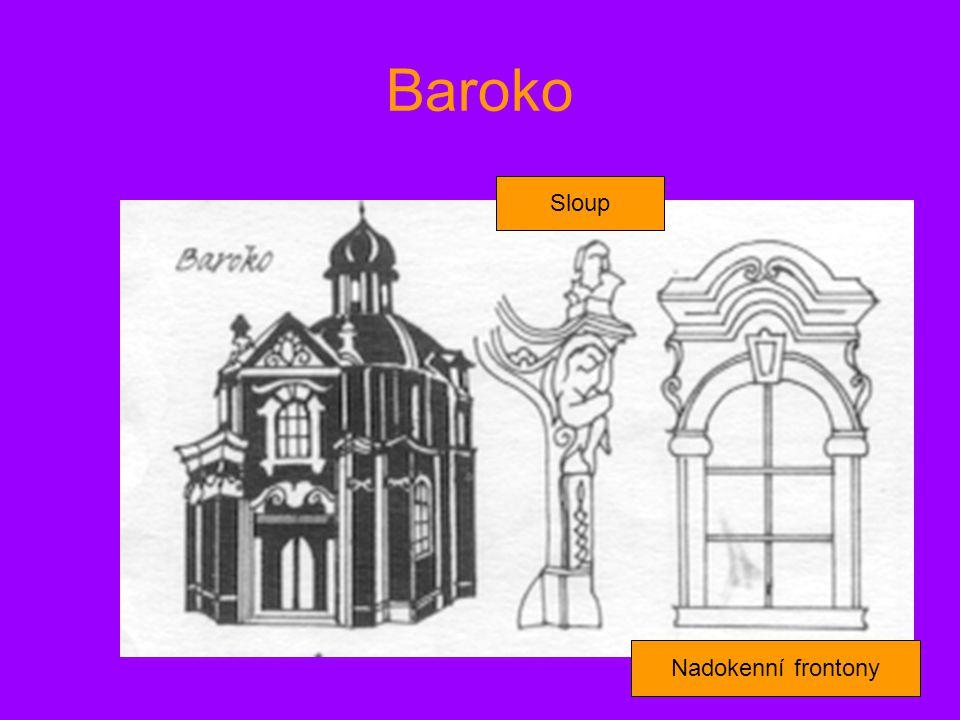 Baroko Nadokenní frontony Sloup