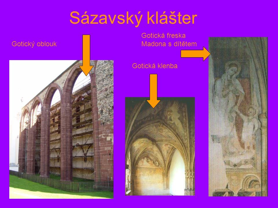 Sázavský klášter Gotický oblouk Gotická freska Madona s dítětem Gotická klenba