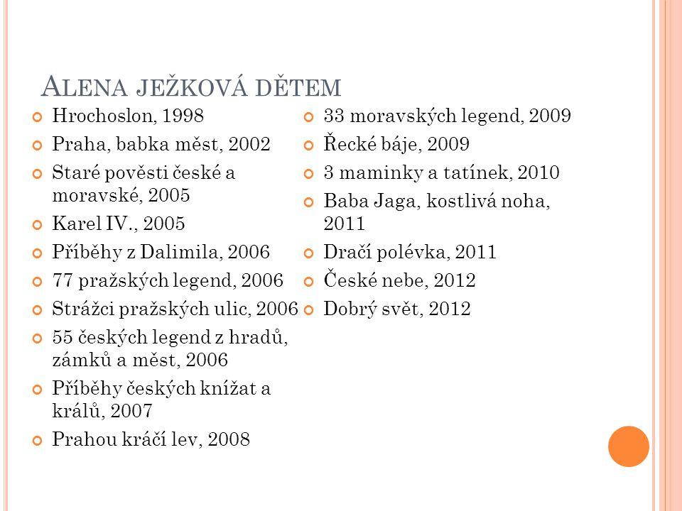 A LENA JEŽKOVÁ DĚTEM Hrochoslon, 1998 Praha, babka měst, 2002 Staré pověsti české a moravské, 2005 Karel IV., 2005 Příběhy z Dalimila, 2006 77 pražských legend, 2006 Strážci pražských ulic, 2006 55 českých legend z hradů, zámků a měst, 2006 Příběhy českých knížat a králů, 2007 Prahou kráčí lev, 2008 33 moravských legend, 2009 Řecké báje, 2009 3 maminky a tatínek, 2010 Baba Jaga, kostlivá noha, 2011 Dračí polévka, 2011 České nebe, 2012 Dobrý svět, 2012
