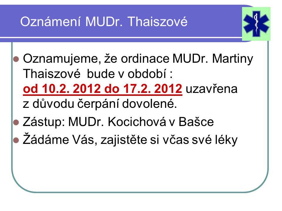 Oznámení MUDr. Thaiszové Oznamujeme, že ordinace MUDr.