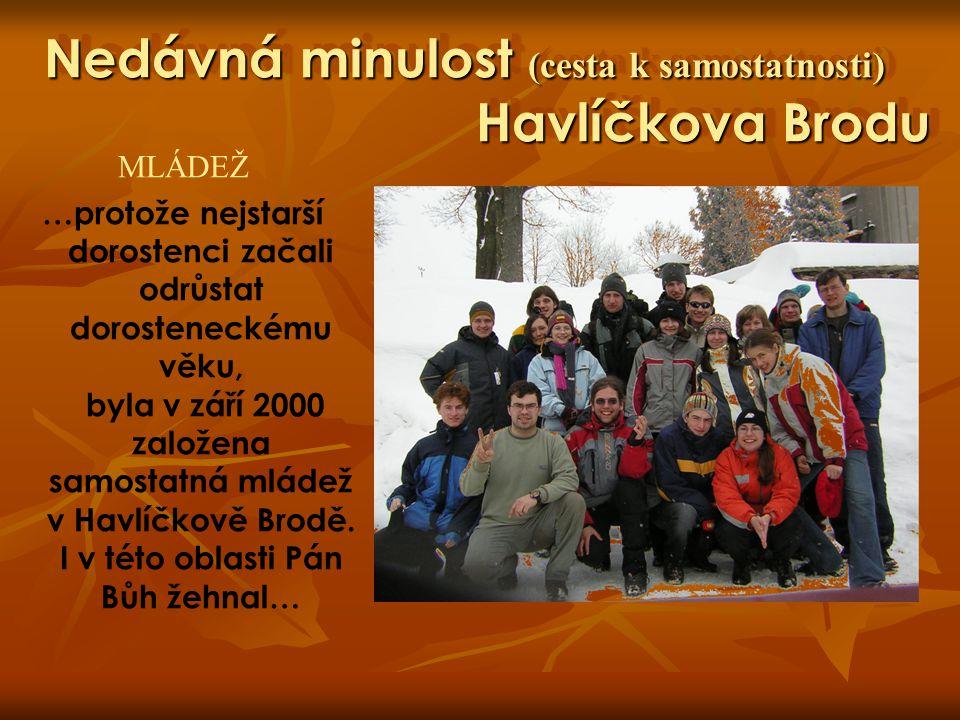 Nedávná minulost (cesta k samostatnosti) Havlíčkova Brodu MLÁDEŽ …protože nejstarší dorostenci začali odrůstat dorosteneckému věku, byla v září 2000 z
