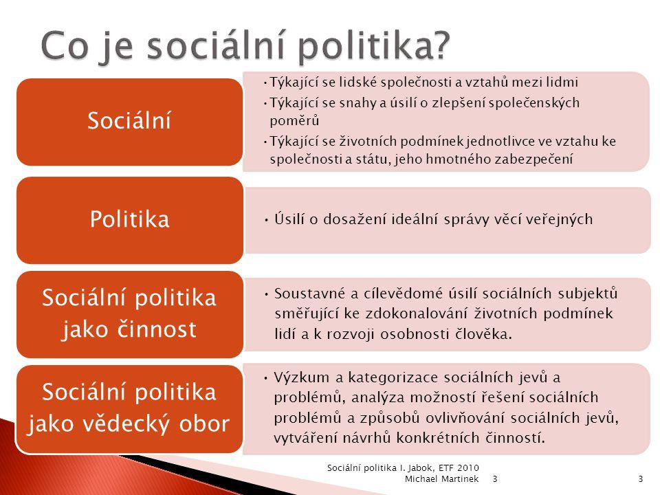 3 3 Týkající se lidské společnosti a vztahů mezi lidmi Týkající se snahy a úsilí o zlepšení společenských poměrů Týkající se životních podmínek jednotlivce ve vztahu ke společnosti a státu, jeho hmotného zabezpečení Sociální Úsilí o dosažení ideální správy věcí veřejných Politika Soustavné a cílevědomé úsilí sociálních subjektů směřující ke zdokonalování životních podmínek lidí a k rozvoji osobnosti člověka.