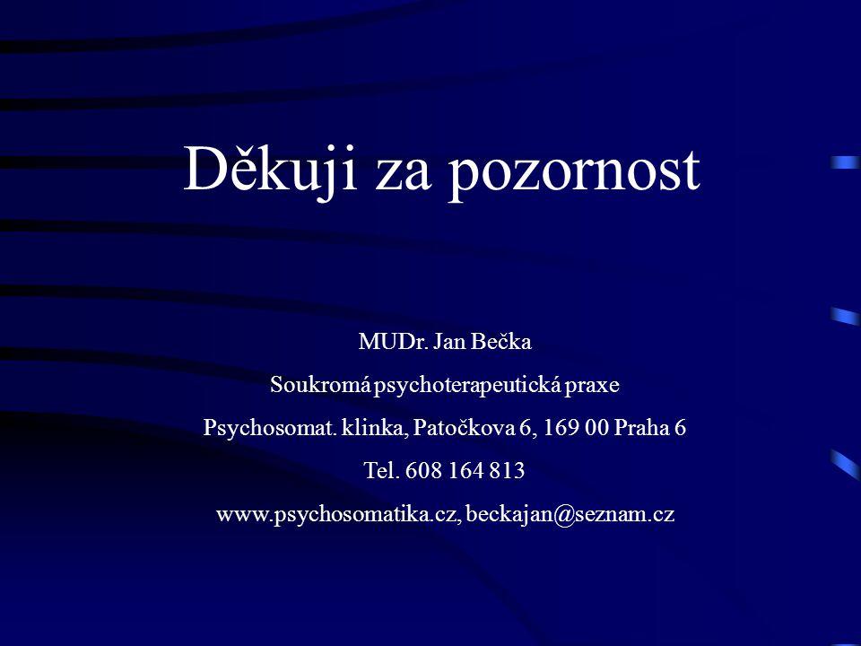 Děkuji za pozornost MUDr. Jan Bečka Soukromá psychoterapeutická praxe Psychosomat. klinka, Patočkova 6, 169 00 Praha 6 Tel. 608 164 813 www.psychosoma